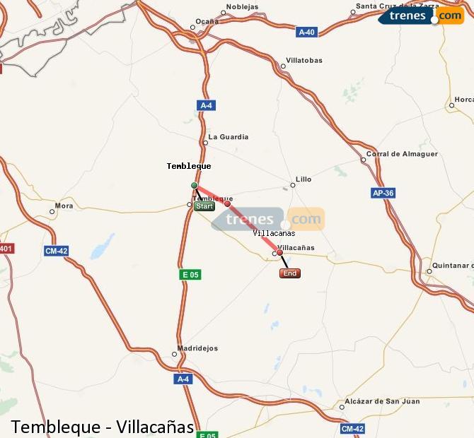 Karte vergrößern Züge Tembleque Villacañas