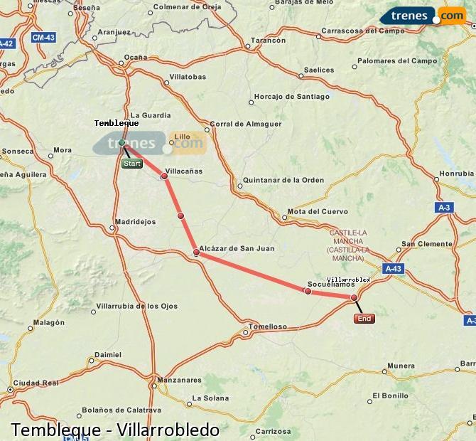 Enlarge map Trains Tembleque to Villarrobledo