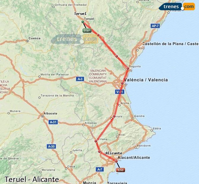 Agrandir la carte Trains Teruel Alicante