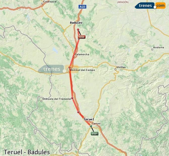 Agrandir la carte Trains Teruel Badules