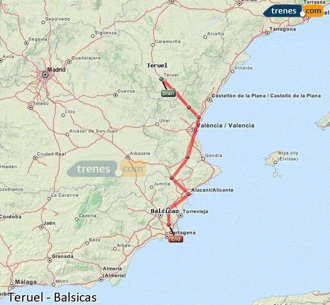 Agrandir la carte Trains Teruel Balsicas