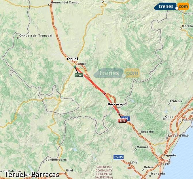 Agrandir la carte Trains Teruel Barracas