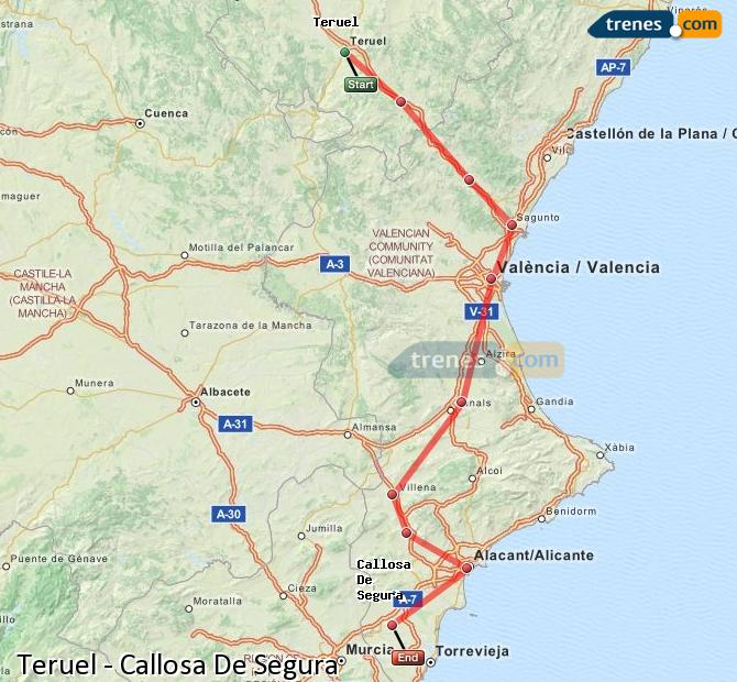 Enlarge map Trains Teruel to Callosa De Segura