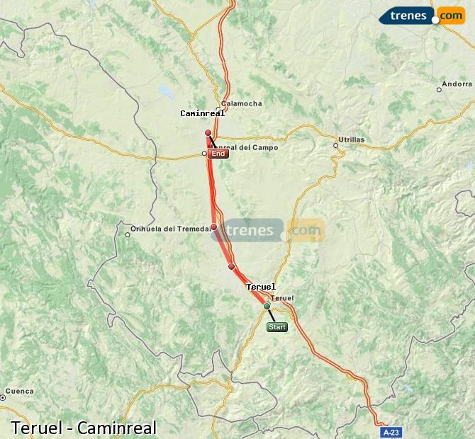 Enlarge map Trains Teruel to Caminreal