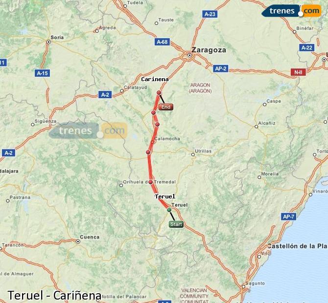 Agrandir la carte Trains Teruel Cariñena