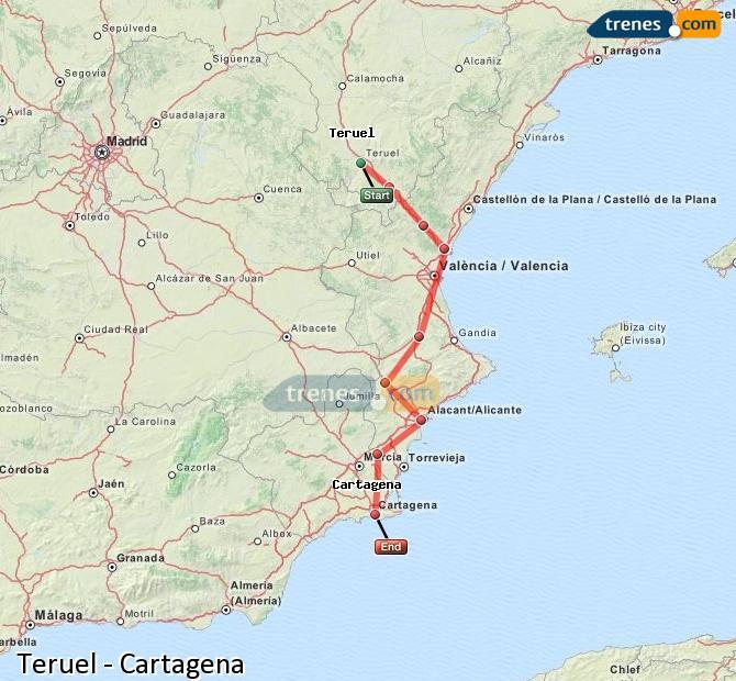 Agrandir la carte Trains Teruel Cartagena