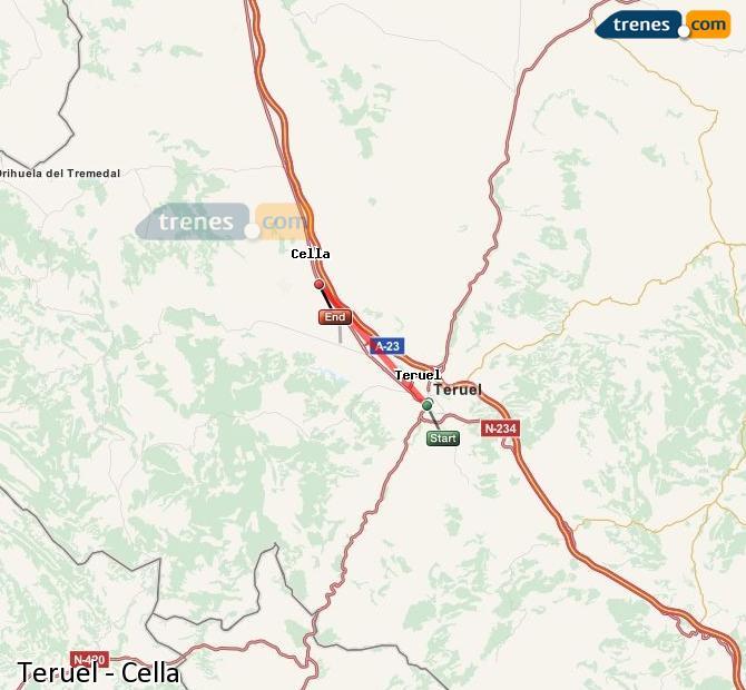 Agrandir la carte Trains Teruel Cella