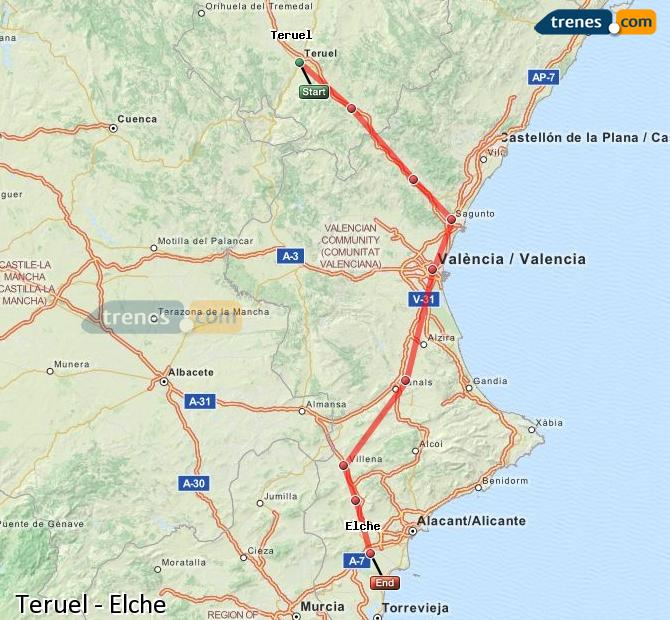 Agrandir la carte Trains Teruel Elche