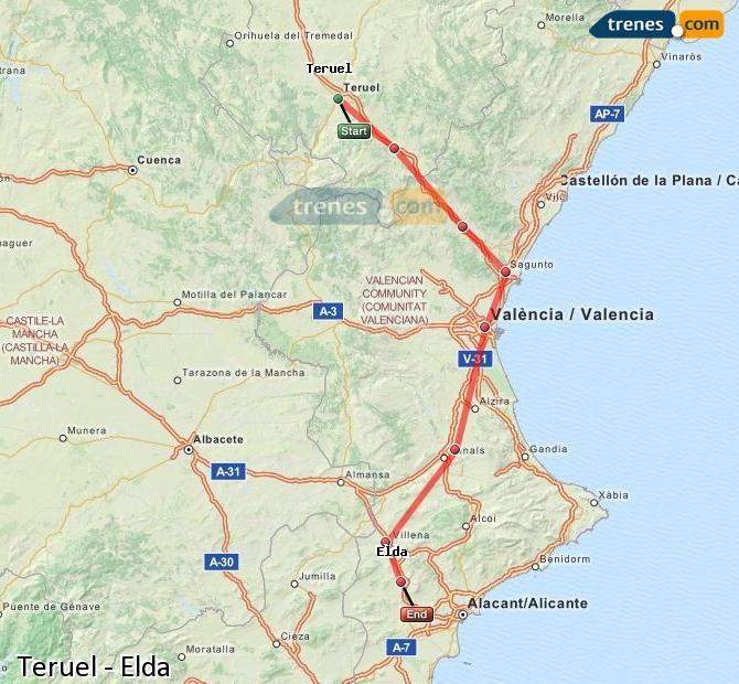 Agrandir la carte Trains Teruel Elda