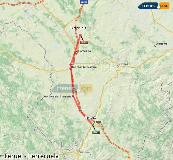 Enlarge map Trains Teruel to Ferreruela