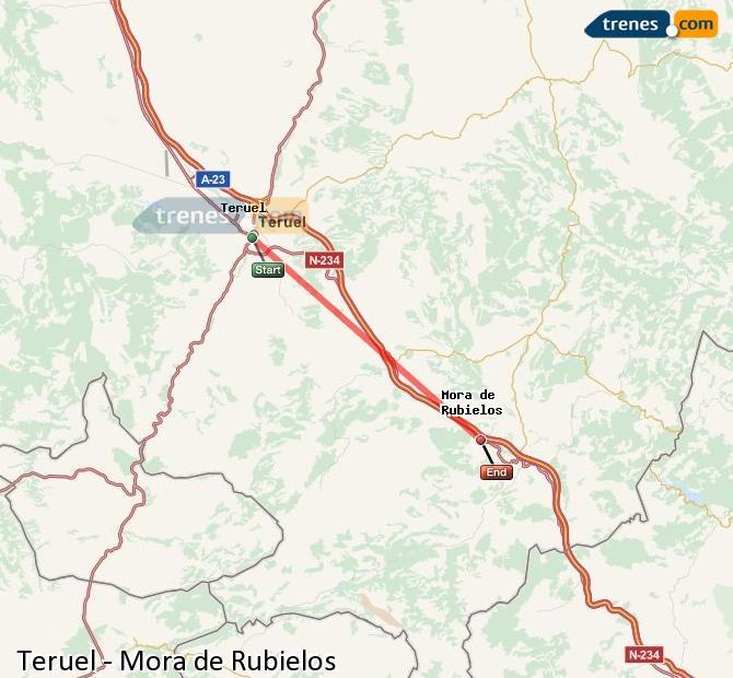 Enlarge map Trains Teruel to Mora de Rubielos