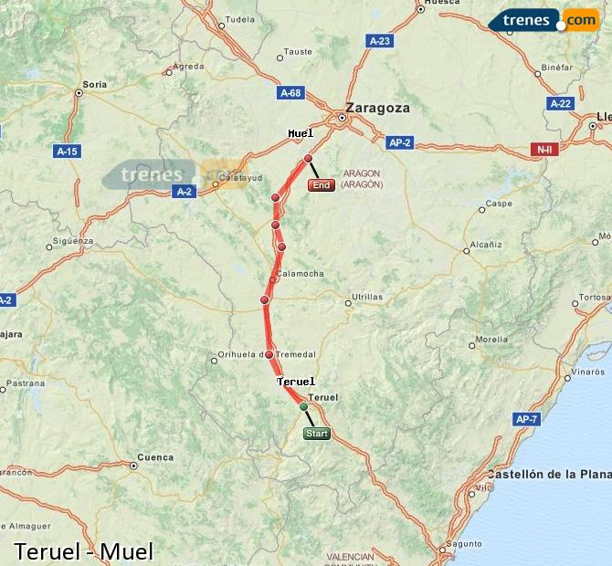 Agrandir la carte Trains Teruel Muel