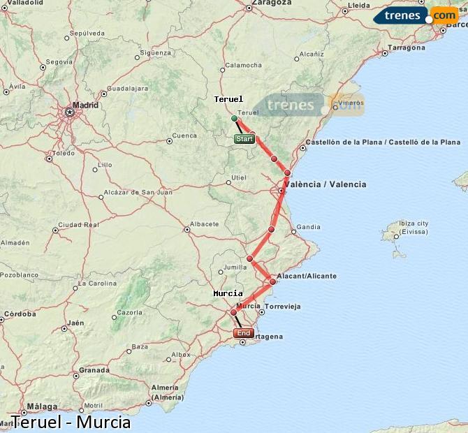 Agrandir la carte Trains Teruel Murcia