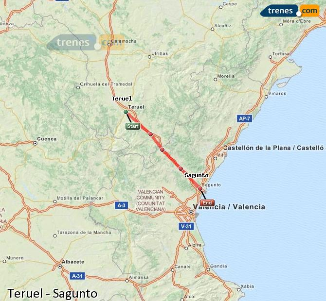 Enlarge map Trains Teruel to Sagunto