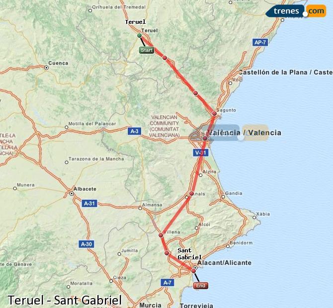 Agrandir la carte Trains Teruel Sant Gabriel