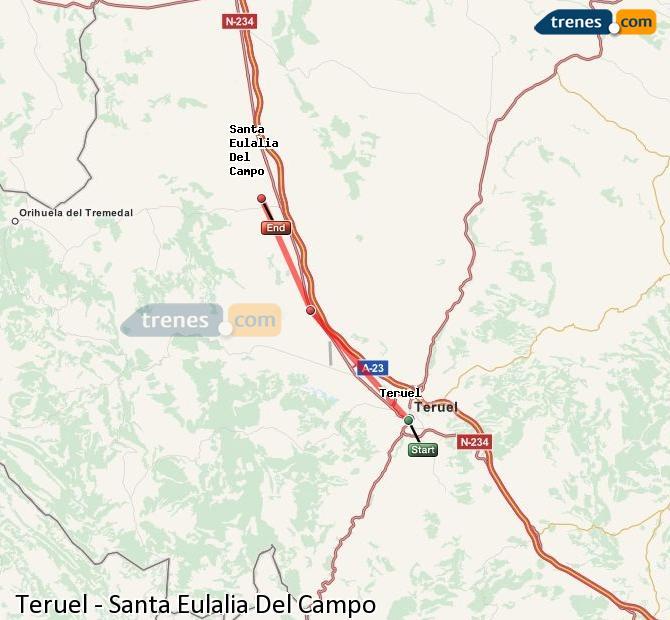 Agrandir la carte Trains Teruel Santa Eulalia Del Campo