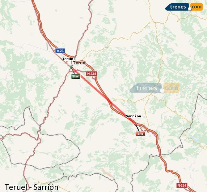 Ampliar mapa Trenes Teruel Sarrión