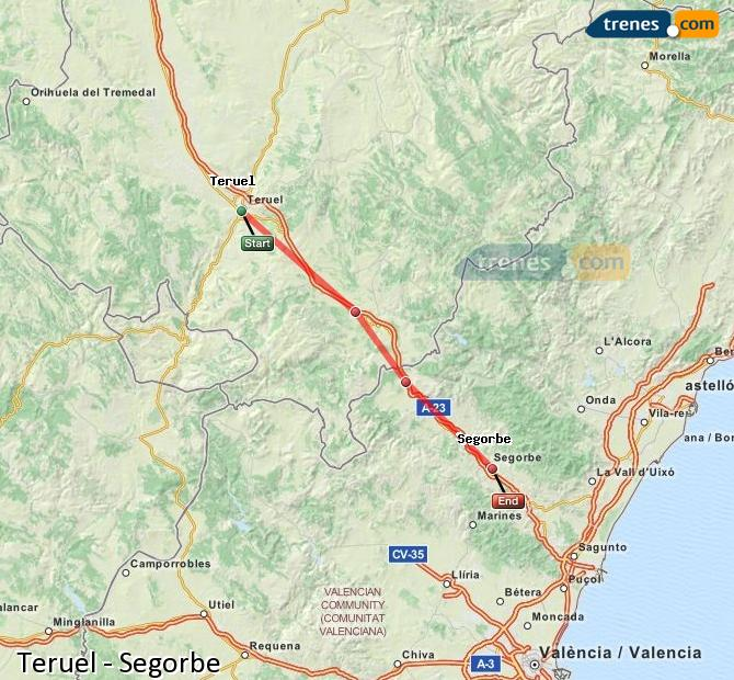 Enlarge map Trains Teruel to Segorbe
