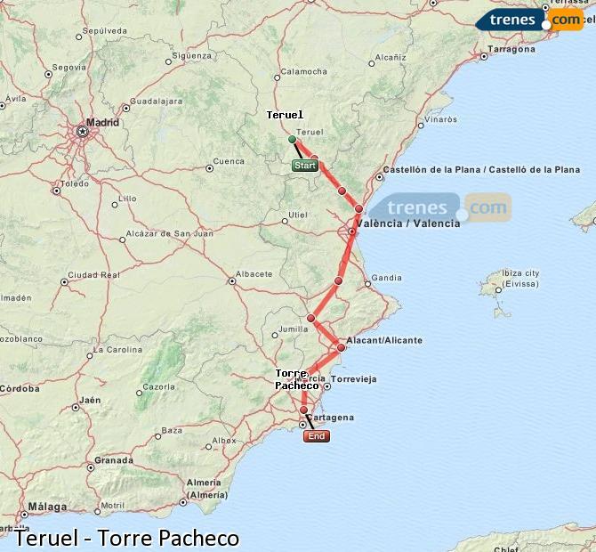 Agrandir la carte Trains Teruel Torre Pacheco