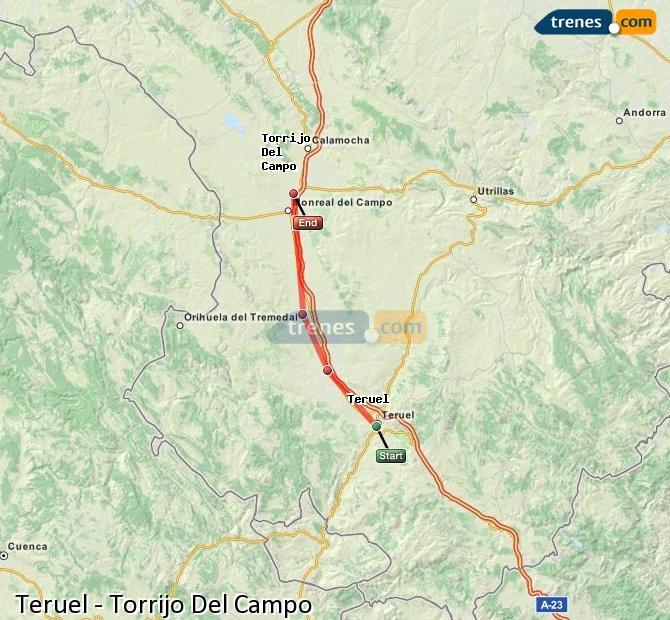 Agrandir la carte Trains Teruel Torrijo Del Campo