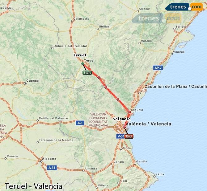 Ampliar mapa Trenes Teruel Valencia