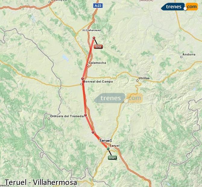 Agrandir la carte Trains Teruel Villahermosa