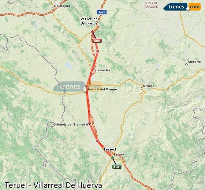 Ingrandisci la mappa Treni Teruel Villarreal De Huerva