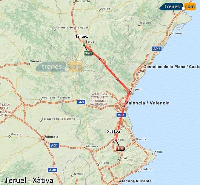 Agrandir la carte Trains Teruel Xàtiva