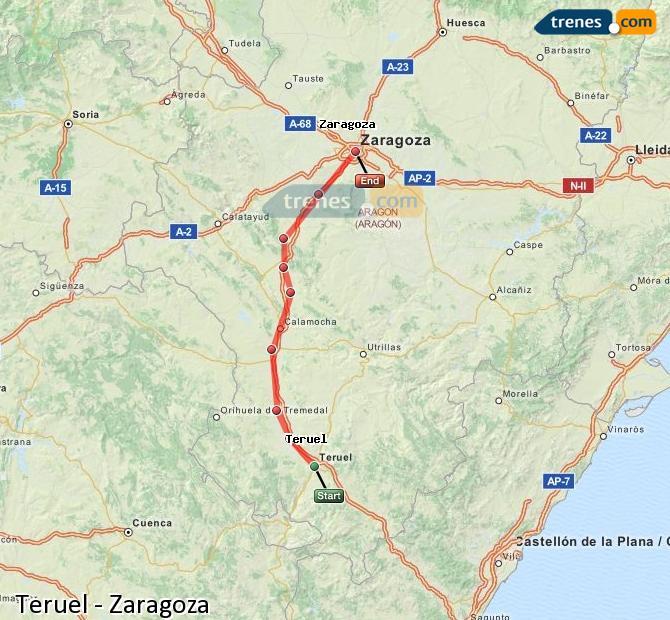 Agrandir la carte Trains Teruel Zaragoza
