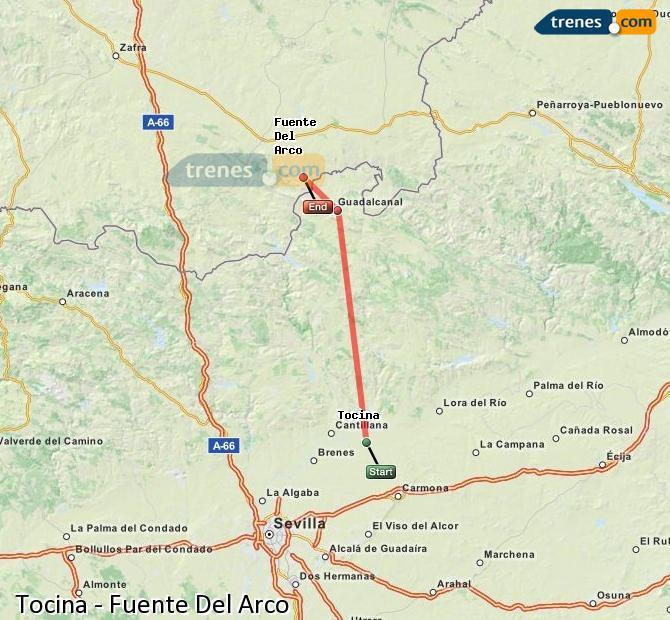 Agrandir la carte Trains Tocina Fuente Del Arco