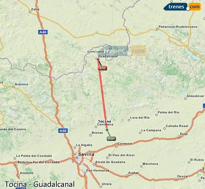 Enlarge map Trains Tocina to Guadalcanal