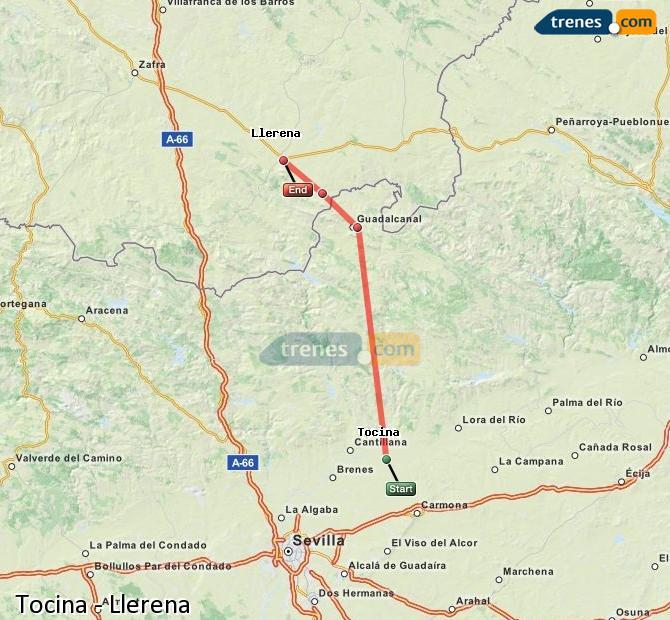 Karte vergrößern Züge Tocina Llerena
