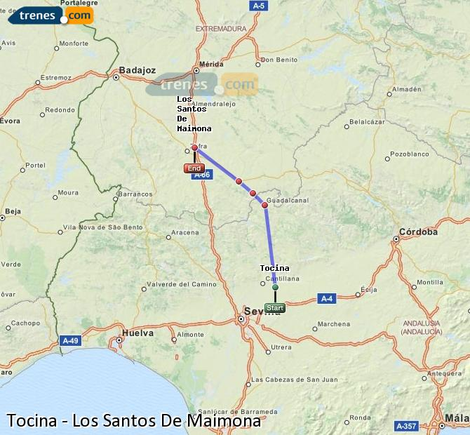 Enlarge map Trains Tocina to Los Santos De Maimona