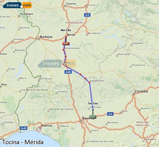 Enlarge map Trains Tocina to Mérida