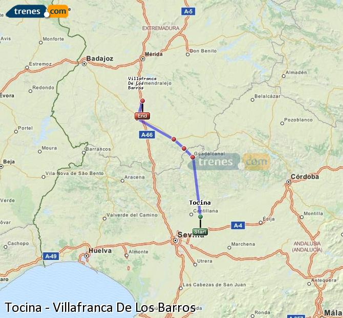 Enlarge map Trains Tocina to Villafranca De Los Barros