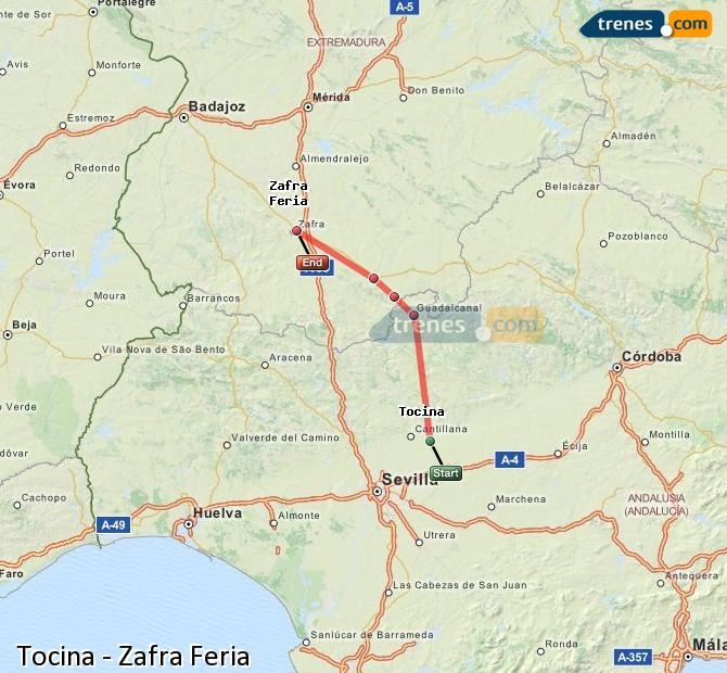 Enlarge map Trains Tocina to Zafra Feria