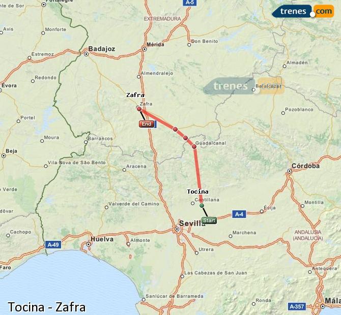 Enlarge map Trains Tocina to Zafra