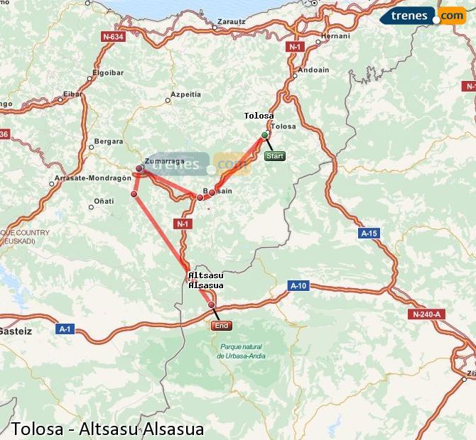 Ingrandisci la mappa Treni Tolosa Altsasu Alsasua
