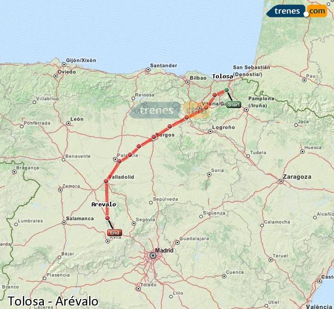 Ingrandisci la mappa Treni Tolosa Arévalo