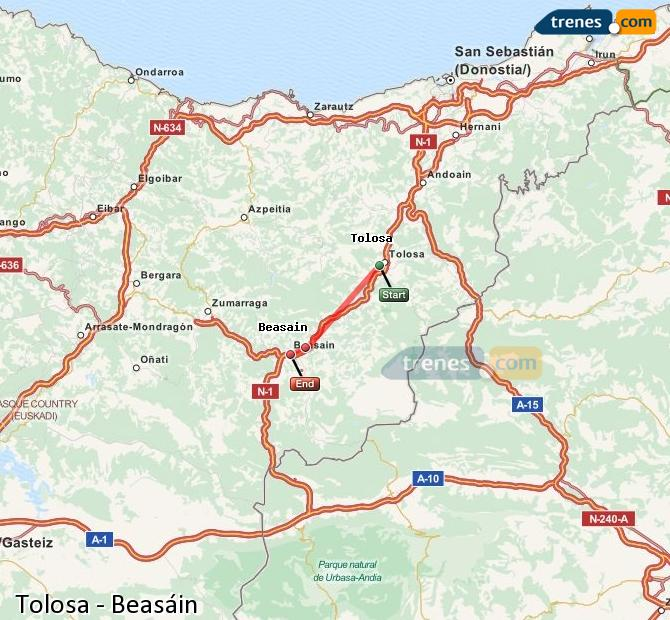Enlarge map Trains Tolosa to Beasin