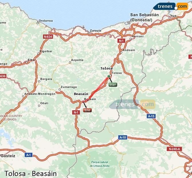 Ampliar mapa Trenes Tolosa Beasáin