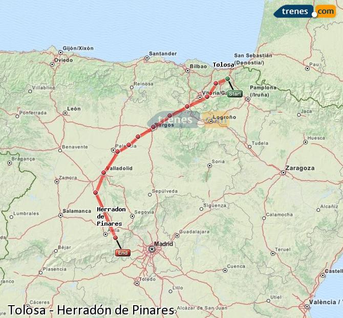 Ingrandisci la mappa Treni Tolosa Herradón de Pinares