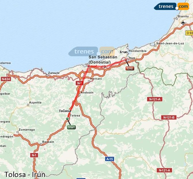 Agrandir la carte Trains Tolosa Irún