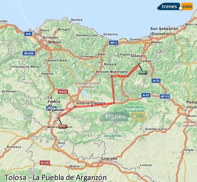 Karte vergrößern Züge Tolosa La Puebla de Arganzón