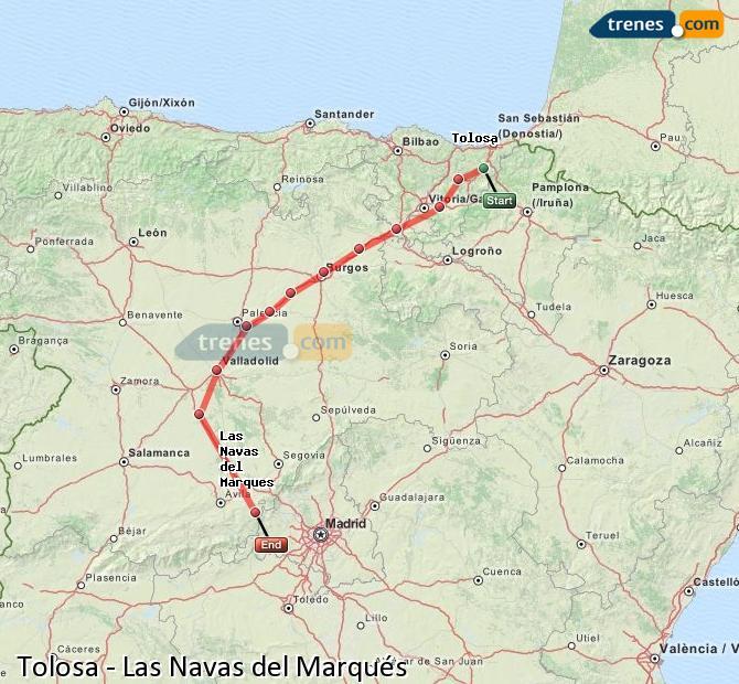 Ingrandisci la mappa Treni Tolosa Las Navas del Marqués
