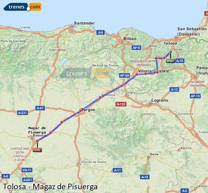 Ingrandisci la mappa Treni Tolosa Magaz de Pisuerga