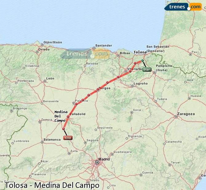Ingrandisci la mappa Treni Tolosa Medina Del Campo