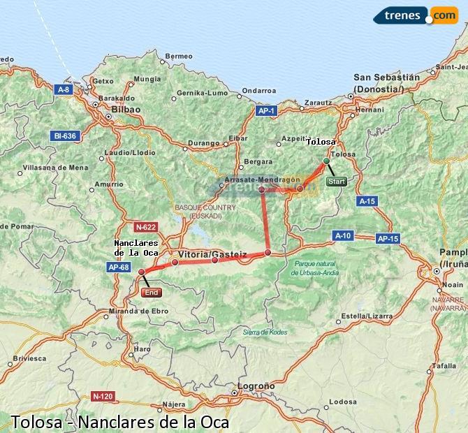 Ingrandisci la mappa Treni Tolosa Nanclares de la Oca
