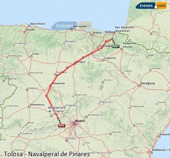 Karte vergrößern Züge Tolosa Navalperal de Pinares