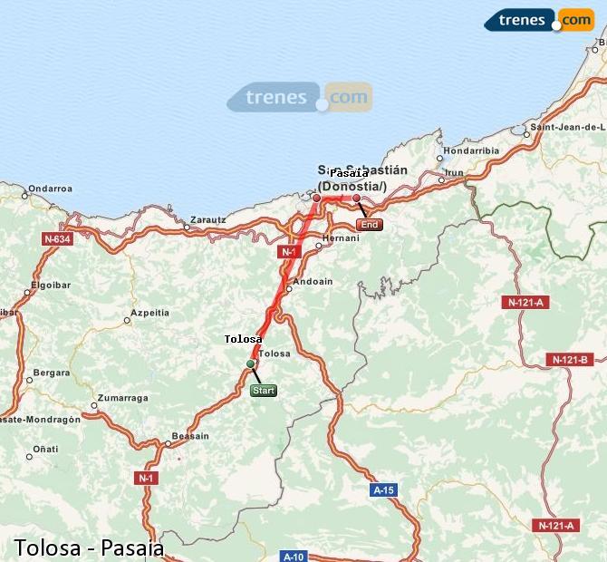 Ampliar mapa Trenes Tolosa Pasaia